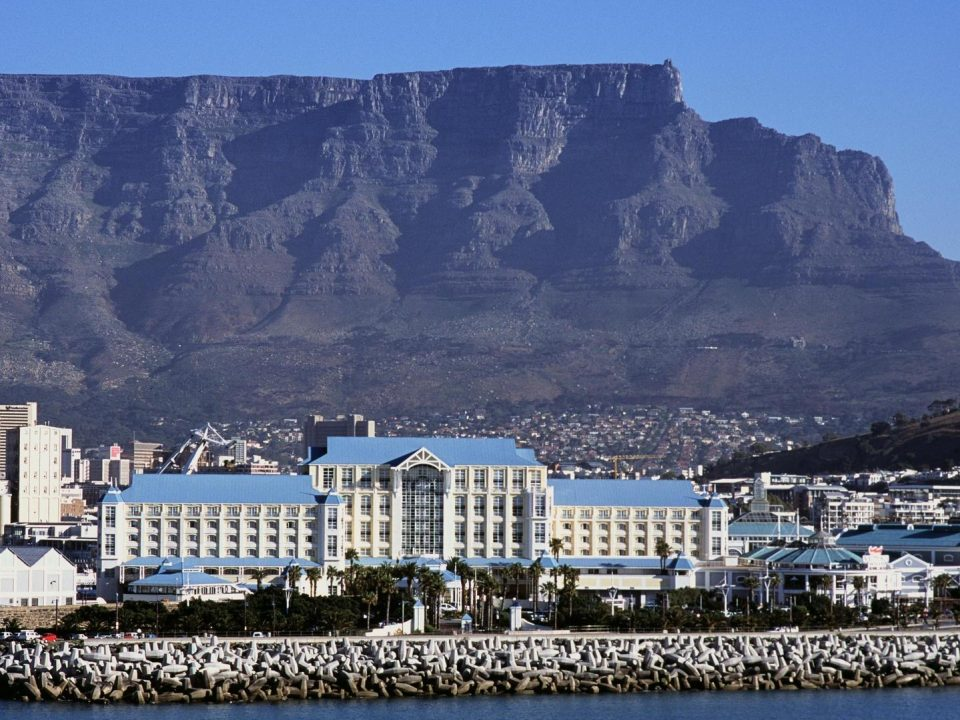 Aerial view of The Table Bay with Table Mountain in the background